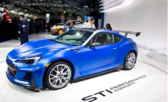 The Subaru Tecnica International (STI) Performance Concept is presented at the New York International Auto Show, Wednesday, April 1, 2015.