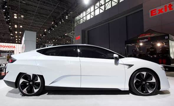 The Honda FCV, a zero-emissions concept vehicle, is on display at the New York International Auto Show, Wednesday, April 1, 2015. The hydrogen fuel-cell-powered vehicle is expected to come to market in 2016.