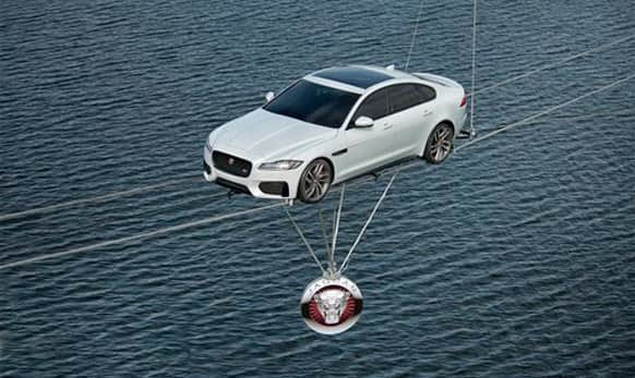 The daring stunt marks the launch of the all-new Jaguar XF.