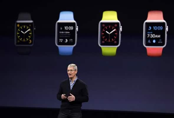 Apple CEO Tim Cook talks about the new Apple Watch during an Apple event on Monday, in San Francisco.