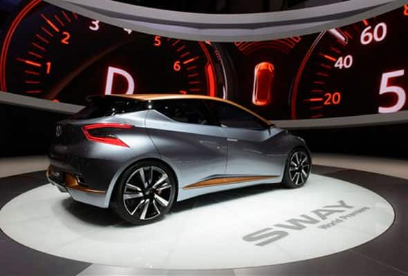 The New Nissan Sway Concept car is on display during the second press day at the Geneva International Motor Show in Geneva, Switzerland Wednesday March 4, 2015.