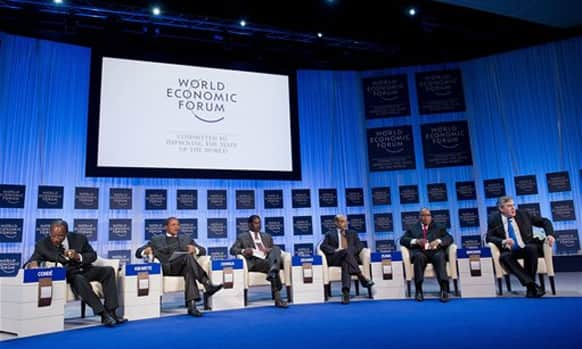 From left: Alpha Conde, president of Guinea, Jakaya M. Kikwete, president of Tanzania, Raila Amolo Odinga, prime minister of Kenya, Meles Zenawi, prime minister of Ethiopia, Jacob G. Zuma, president of South Africa and Former British Prime Minister Gordon Brown attend a plenary session of WEF.