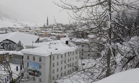 A view of Davos with the hotel Belvedere in the foreground, is seen near the Congress Center the day before the opening of the 42nd Annual Meeting of the World Economic Forum, WEF, in Davos, Switzerland.