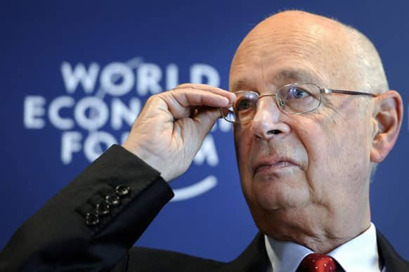 World Economic Forum (WEF) founder and executive chairman Klaus Schwab gestures during a news conference focused World Economic Forum WEF annual meeting at the Forum's headquarters in Cologny, near Geneva.
