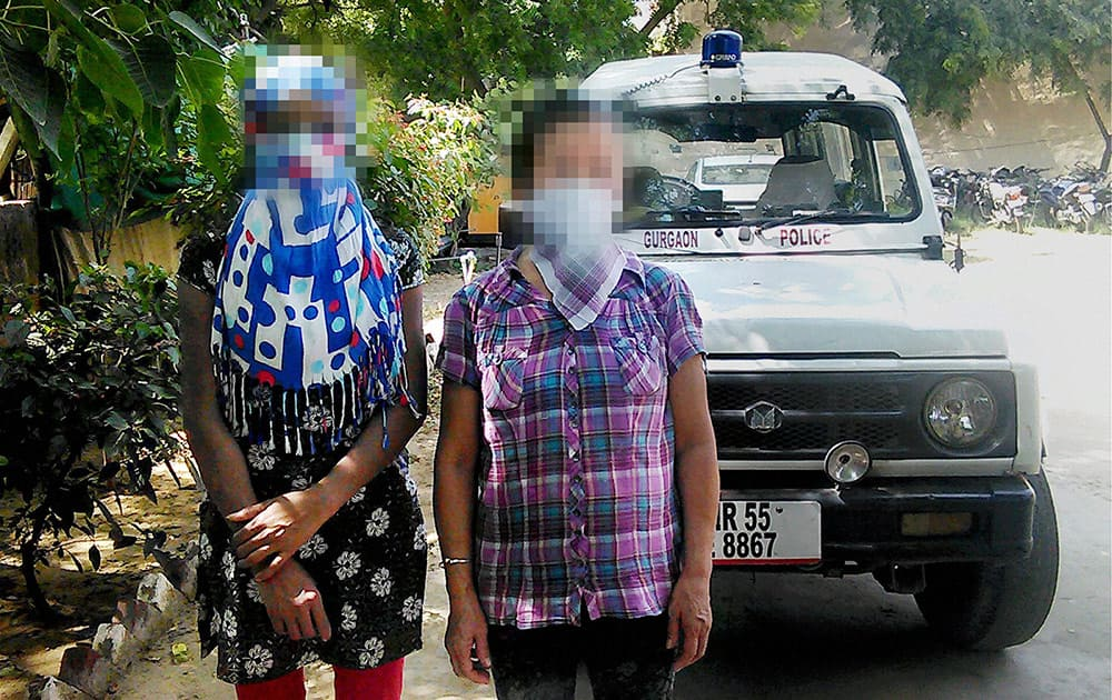 The two Nepalese women who were allegedly raped by a Saudi Arabian man, being brought at a hospital for medical test in Gurgaon .