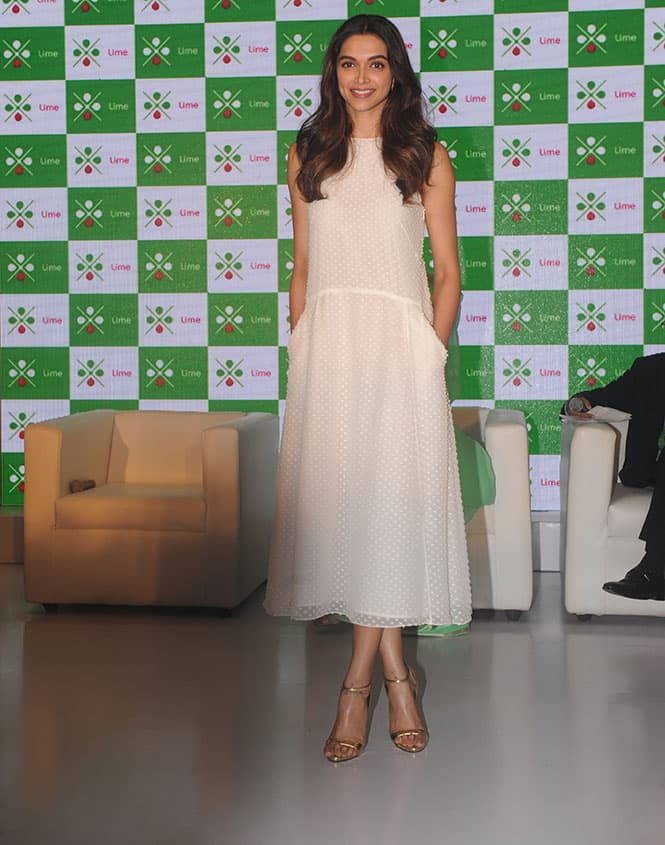 Bollywood actor Deepika Padukone during the launch of mobile app Lime by Axis Bank in Mumbai. -dna