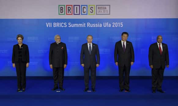 Brazil's President Dilma Rousseff, Indian Prime Minister Narendra Modi, President of Russia Vladimir Putin, President of China Xi Jinping and South African President Jacob Zuma at the BRICS Summit in Ufa, Russia.