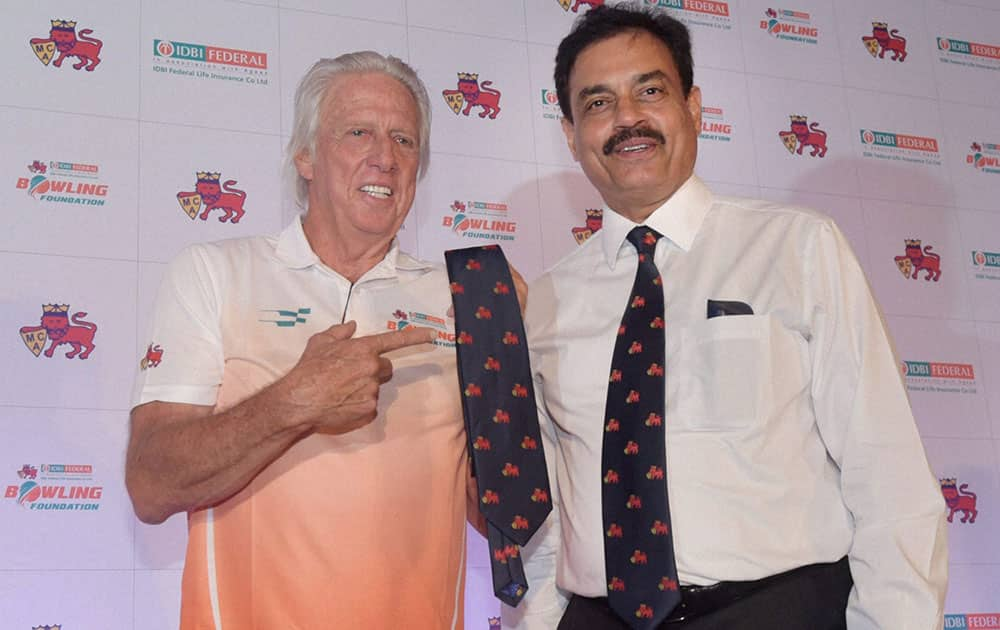 Australian pace bowler and coach, MCA-IDBI federal life insurance bowling foundation Jeff Thomson along with former India skipper Dilip Vengsarkar during the launch of the bowling foundation, in Mumbai.