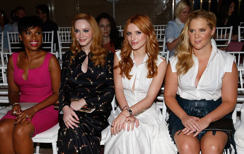 Actresses Jennifer Hudson, from left, Christina Hendricks, Bella Thorne and Amy Schumer sit in the front row before the Zac Posen Spring 2016 collection show during Fashion Week.