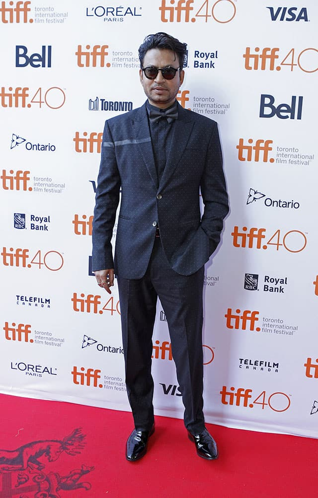 Irrfan Khan attends the premiere for 'Guilty' on day 5 of the Toronto International Film Festival at the Ryerson theatre, in Toronto.