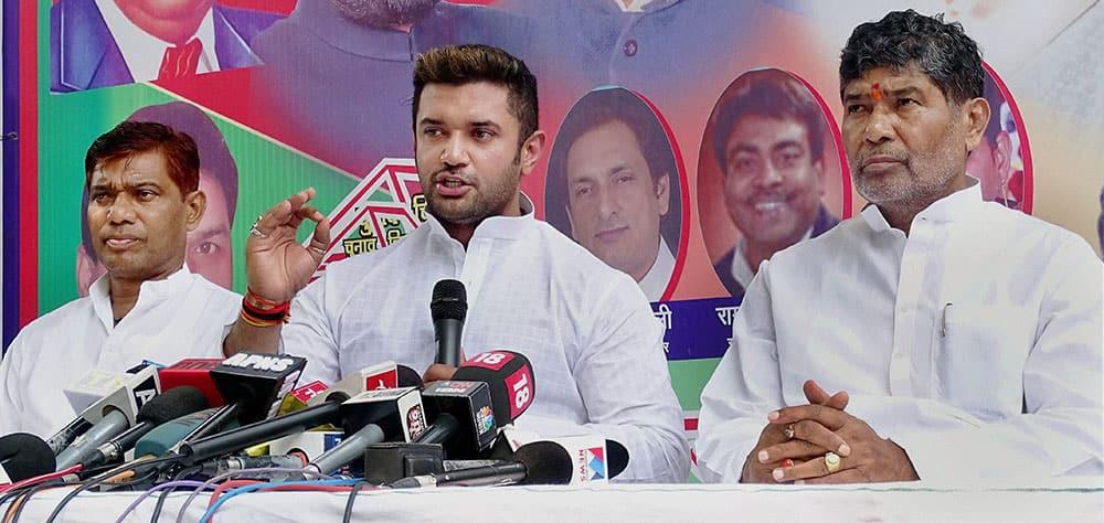 Lok Janshakti Party (LJP) leader Chirag Paswan addressing a press conference in New Delhi.