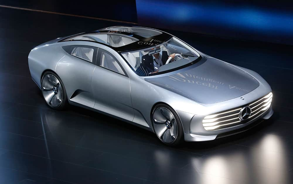 A Mercedes show car 'Digital Transformer' is displayed during an event of the Daimler group on the eve of the Frankfurt Auto Show IAA in Frankfurt, Germany.