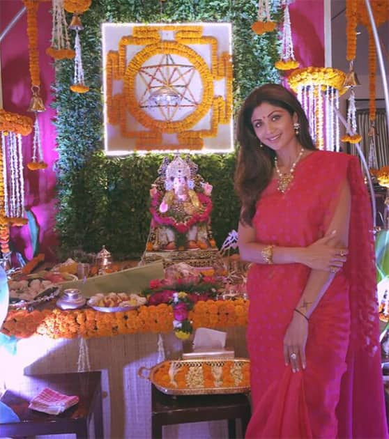 My Gannu Raja is home :) ganpati bappa moriya. Twitter@TheShilpaShetty