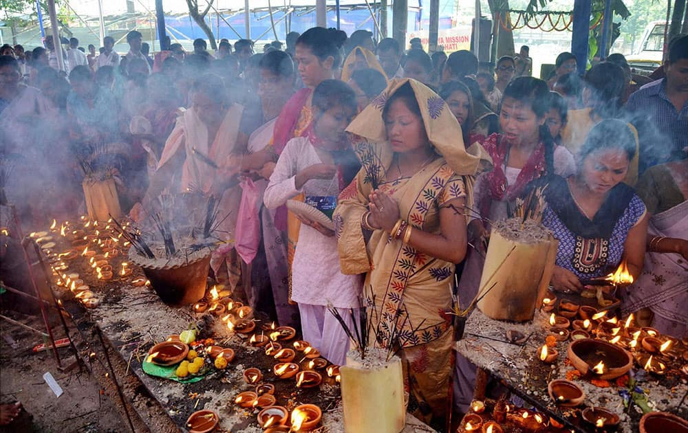 Devotees offers prayers at the Latashil Ganesh Temple in Guwahati during the occasion of Ganesh Festival.