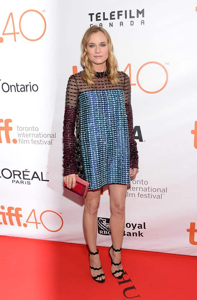 Diane Kruger attends a premiere for 'Disorder' on day 8 of the Toronto International Film Festival at the Royal Thomson Hall, in Toronto.