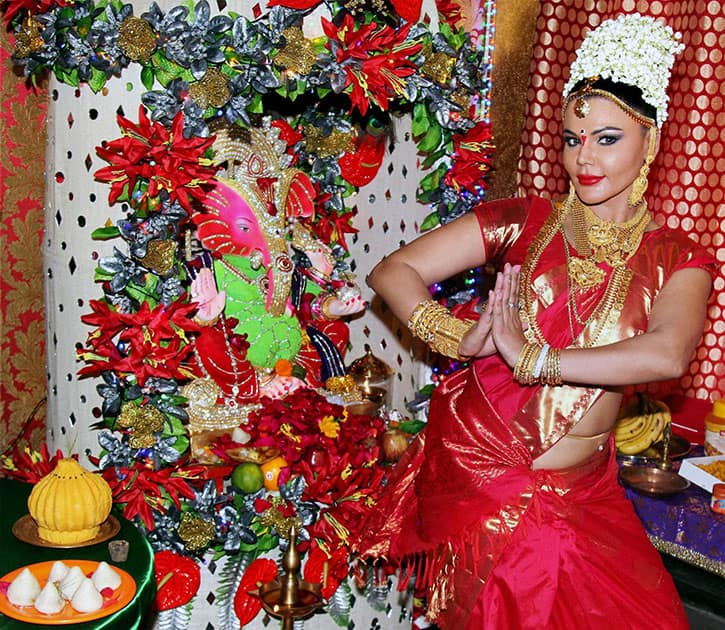 Rakhi Sawant during the Ganesh Festival celebration in Mumbai.