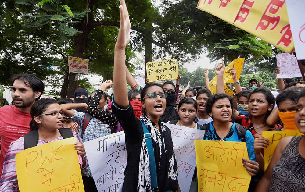Students of Patna Womens College shout slogans during a protest against college administration over alleged molestation of a girl by a professor.