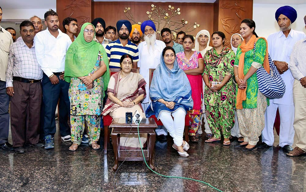 External Affairs Minister Sushma Swaraj at a meeting with the relatives of 39 Indians held captive by Islamic State militants in Iraq for over 15 months and assured them that the government was continuing to make efforts to locate them, in New Delhi.