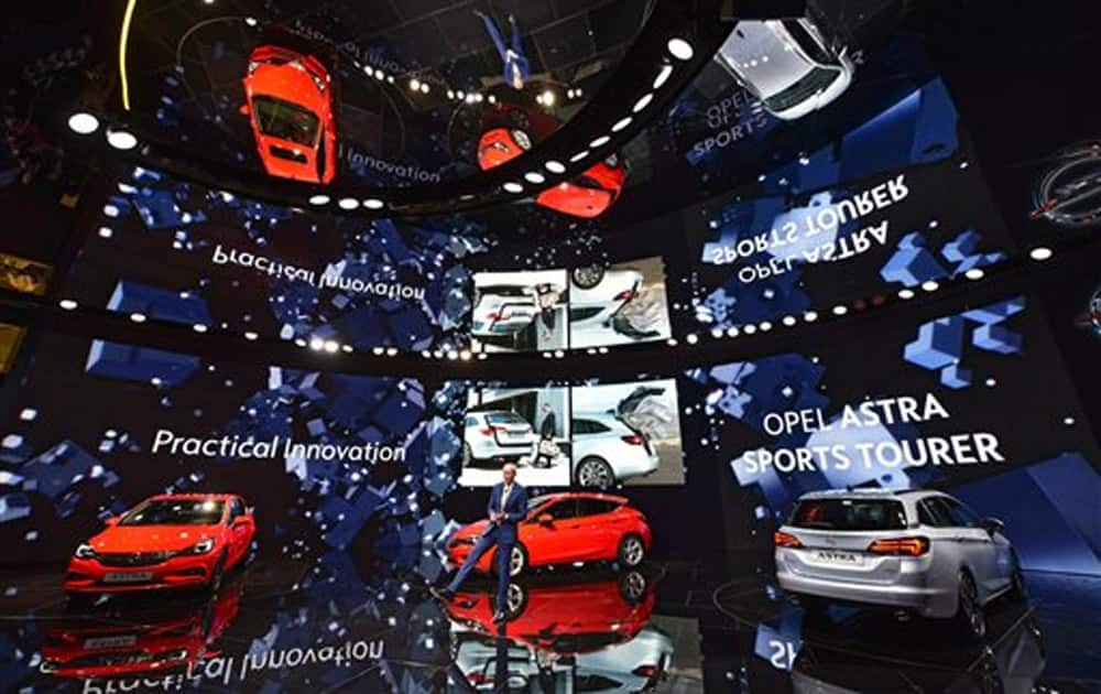 CEO of Opel Karl-Thomas Neumann presents the new Astra models at the Frankfurt Auto Show IAA in Frankfurt, Germany.