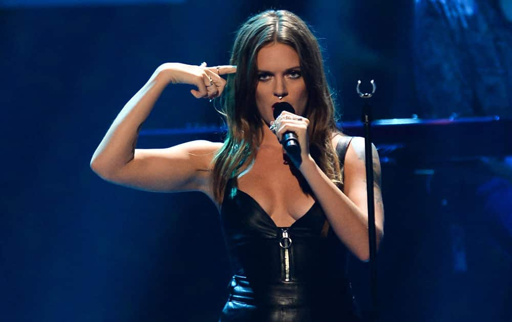 Tove Lo performs at Day 2 of the 2015 iHeartRadio Music Festival at the MGM Grand Garden Arena in Las Vegas, NV.