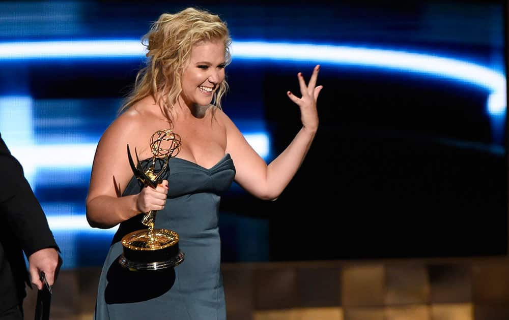 "Amy Schumer accepts the award for outstanding variety sketch series for ""Inside Amy Schumer"" at the 67th Primetime Emmy Awards."