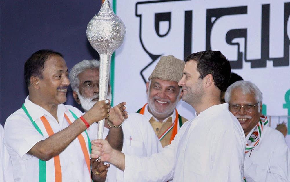 Congress Vice President Rahul Gandhi is presented a mace at the UPCC Pratinidhi Sammelan (Delegate Convention) in Mathura.