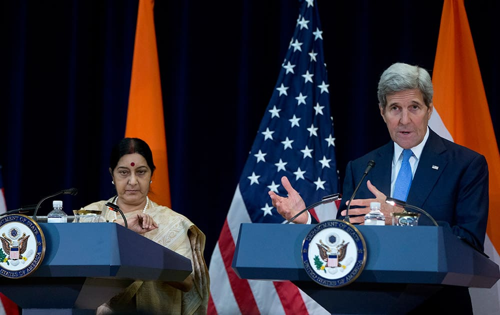 Secretary of State John Kerry, joined by India's External Affairs Minister Sushma Swaraj, speaks to media at the State Department in Washington.