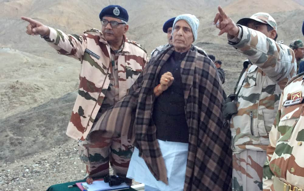 Union Home Minister Rajnath Singh with ITBP officers and jawans during a visit to Dungti BOP in Leh.