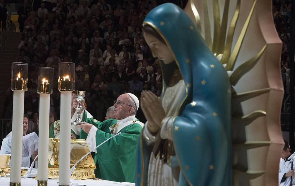 Pope Francis celebrates a Mass at Madison Square Garden in New York.