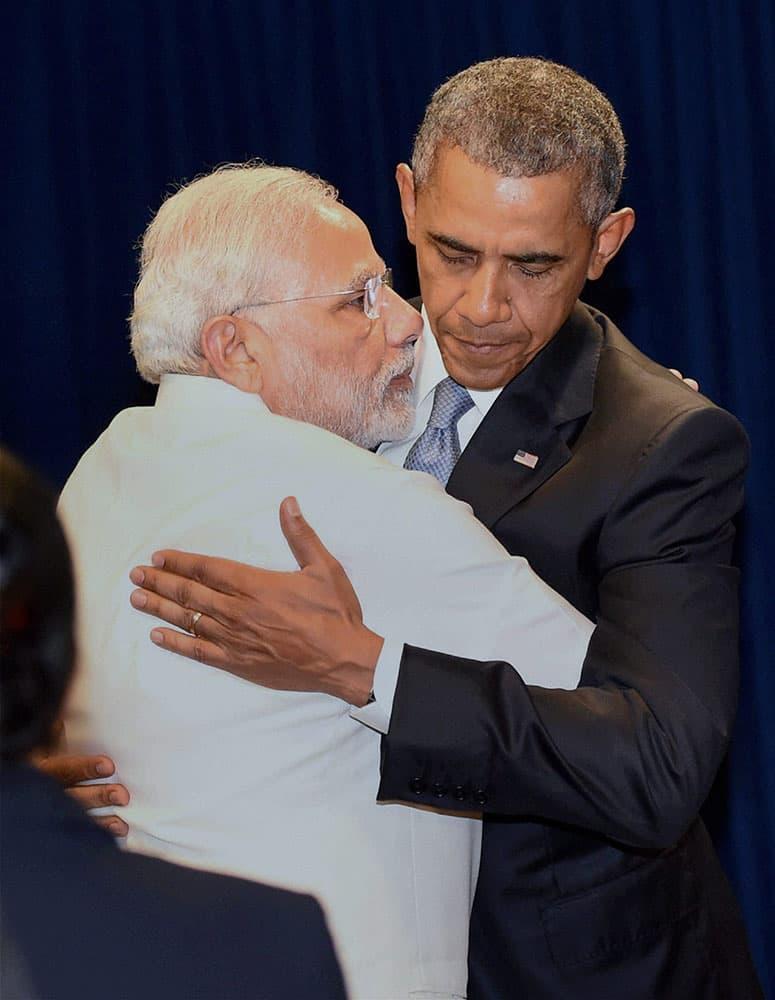 Prime Minister Narendra Modi hugs US President Barack Obama in New York.