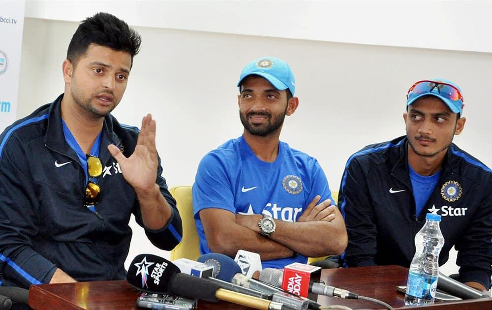 Suresh Raina, Ajinkya Rahane and Akshar Patel interact with media at Himachal Pradesh Cricket Stadium in Dharamsala.