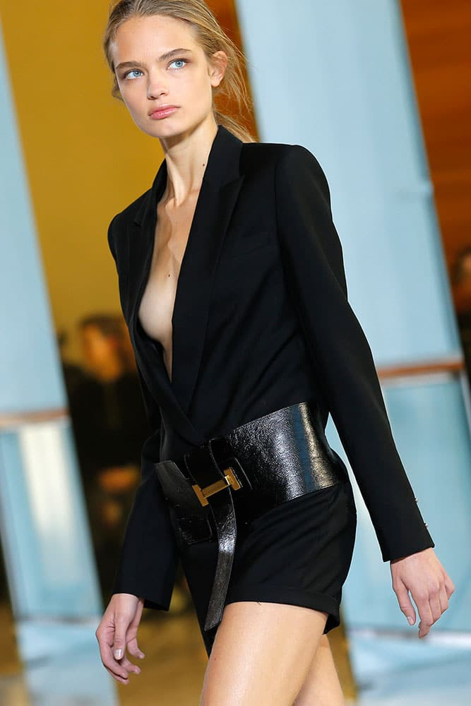 A model wears a creation by Anthony Vaccarello as part of his Spring-Summer 2016 ready-to-wear fashion collection, presented during the Paris Fashion Week in Paris.