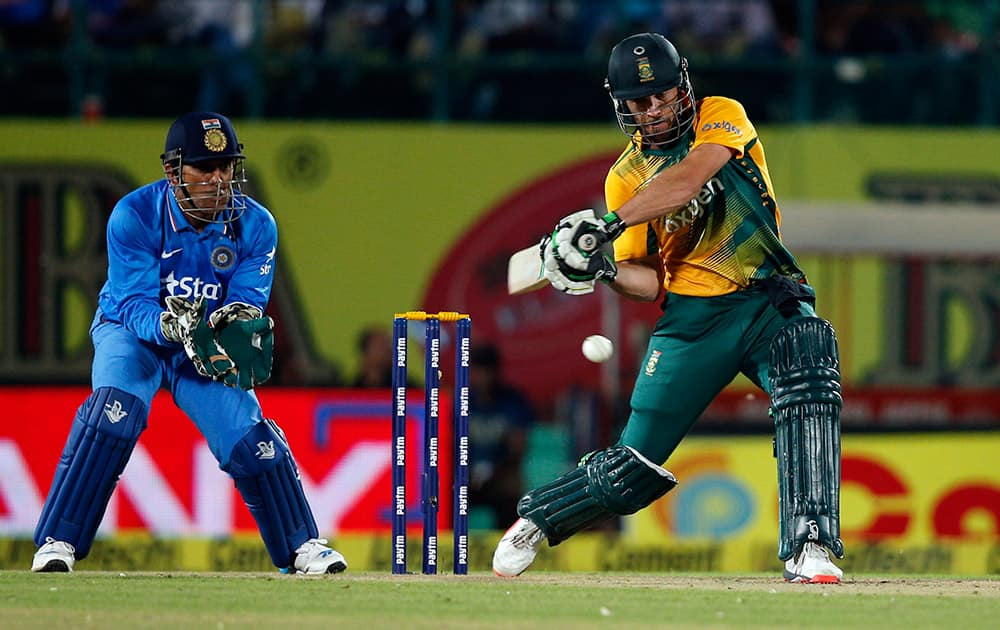 South Africa's AB de Villiers bats during the first Twenty20 cricket match against India in Dharmsala.