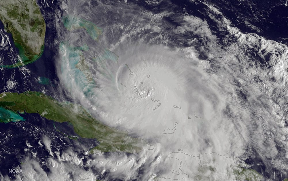 This image released by the National Oceanic and Atmospheric Administration (NOAA), shows Hurricane Joaquin of the Bahamas.