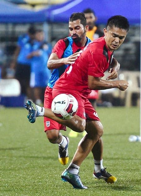 Mumbai City FC player Sunil Chetri during a practice session ahead of Hero Indian Super League in Mumbai.