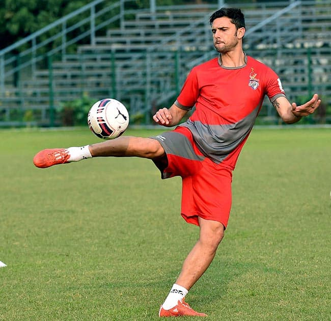 Helder Postiga, star player of Atletico de Kolkata during a training session in Kolkata on Tuesday ahead of 2nd edition ISL Tournament.