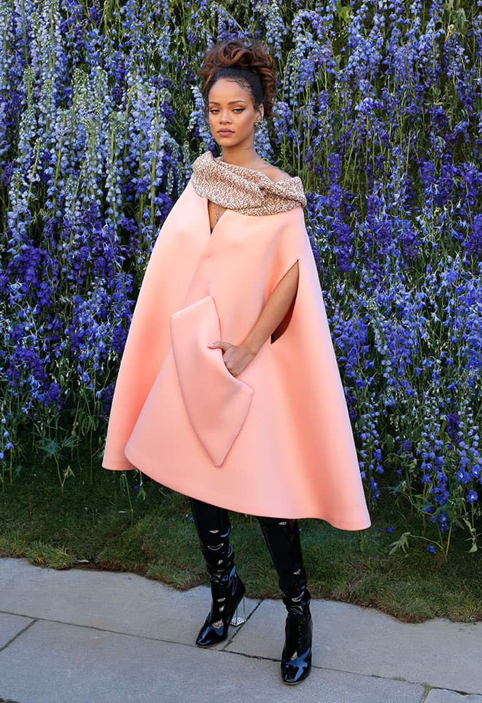 Singer Rihanna poses before Christian Dior's Spring-Summer 2016 ready-to-wear fashion collection to be presented during the Paris Fashion Week, in Paris.