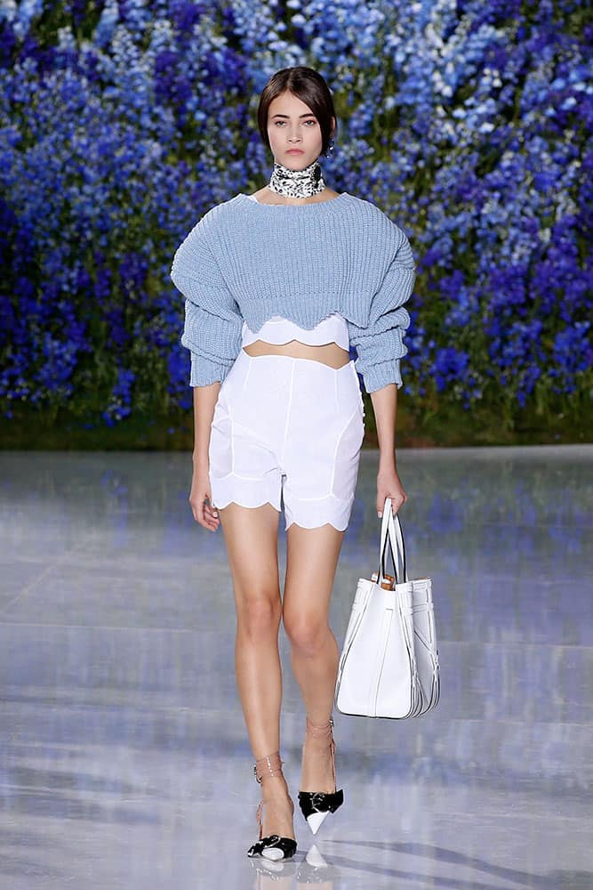A model wears a creation for Christian Dior's Spring-Summer 2016 ready-to-wear fashion collection, presented during the Paris Fashion Week in Paris.