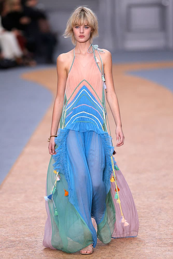 A model wears a creation for Chloe as part of her Spring-Summer 2016 ready-to-wear fashion collection, presented during the Paris Fashion Week in Paris.