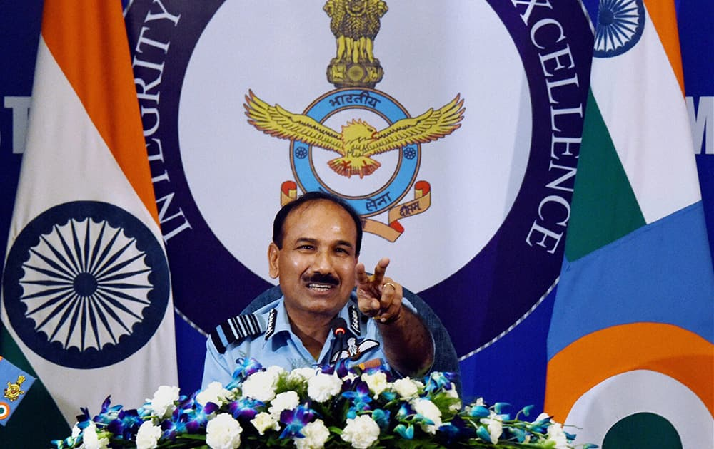 Chief of Indian Air Force (IAF), Air Chief Marshal Arup Raha addresses a press conference.