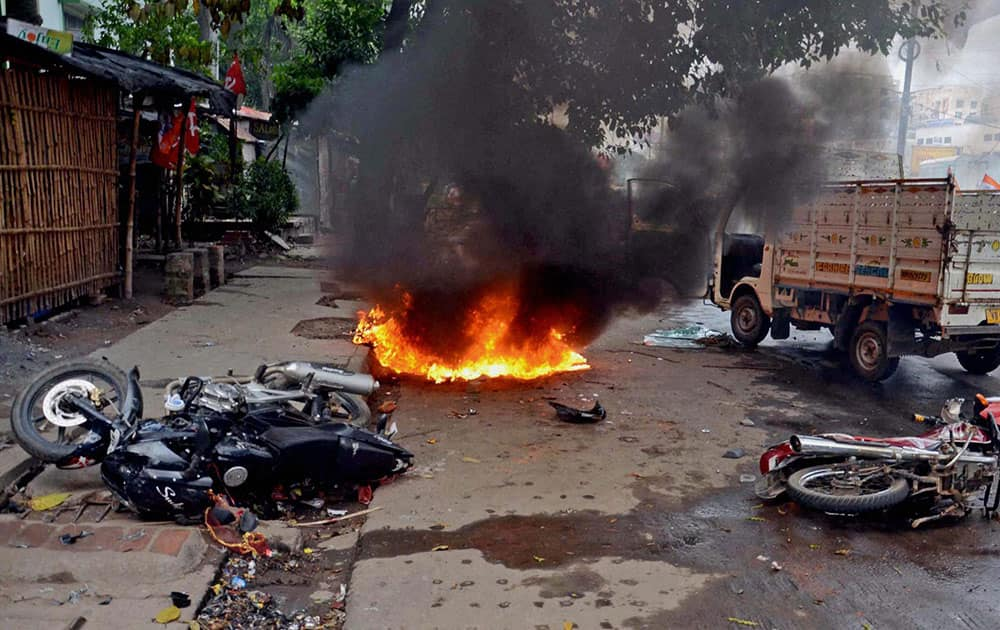 Motorcycles in flames after clashes during municipal elections at Saltlake in North 24 Pargana district of WB.