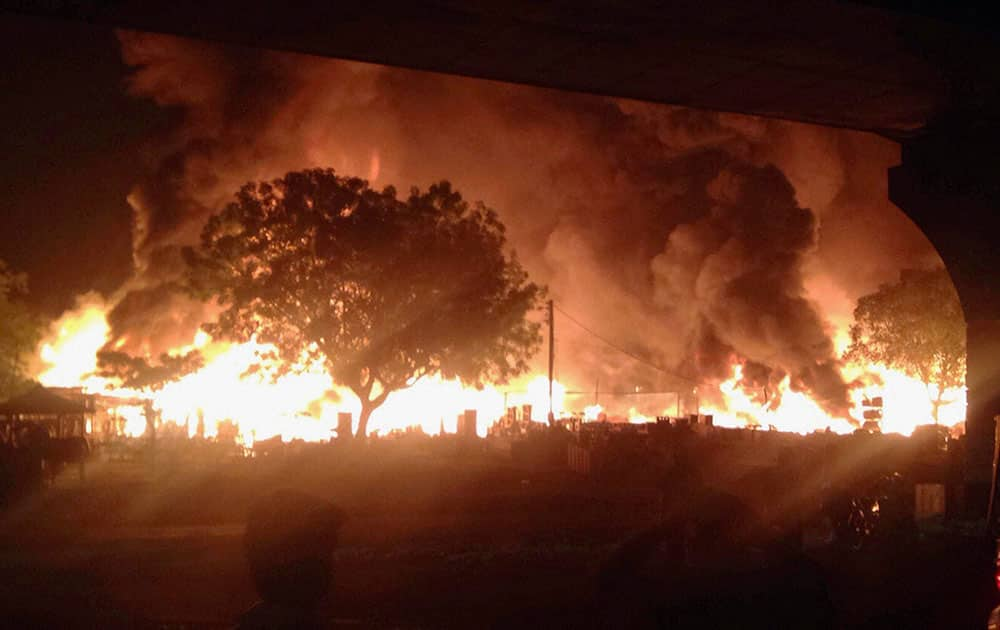 A scene of the fire in which more than 30 shops were burned on Saturday night at Sikandepur furniture in Gurgaon.