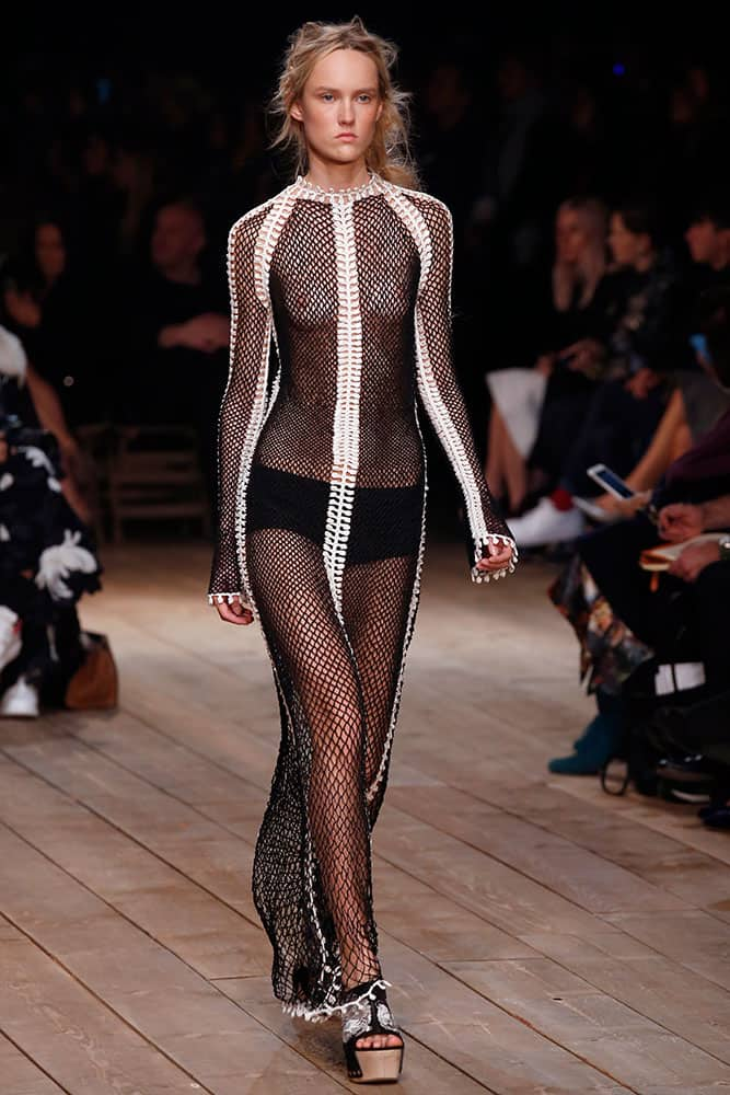 A model wears a creation as part of Alexander McQueen's Spring-Summer 2016 ready-to-wear fashion collection, presented during the Paris Fashion Week.