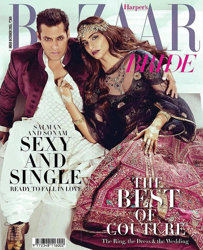 @BeingSalmanKhan & @sonamakapoor on the cover of harper's bazaar bride,India magazine. -twitter