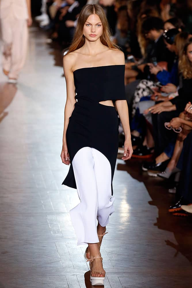 A model wears a creation as part of Stella McCartney's Spring-Summer 2016 ready-to-wear fashion collection, presented during the Paris Fashion Week in Paris.