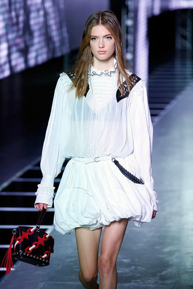 A model wears a creation for Louis Vuitton's Spring-Summer 2016 ready-to-wear fashion collection presented during the Paris Fashion Week.