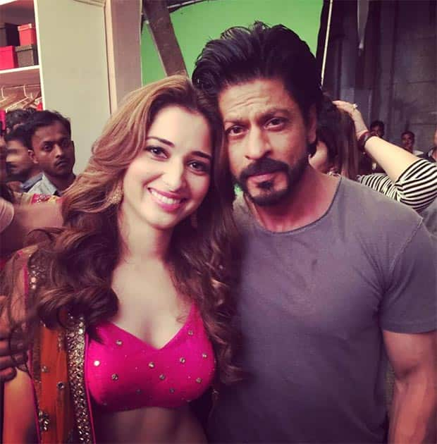 My fan moment @iamsrk you are a total inspiration such a pleasure working with you @Yepmedotcom Twitter@tamannaahspeaks