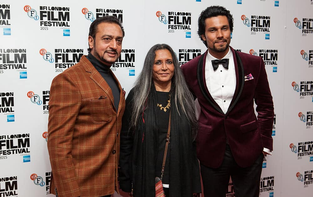 Gulshan Grover, Deepa Mehta, and Randeep Hooda pose for photographers upon arrival at the Premiere of the film Beeba Boys, showing as part of the London Film Festival, in central London.