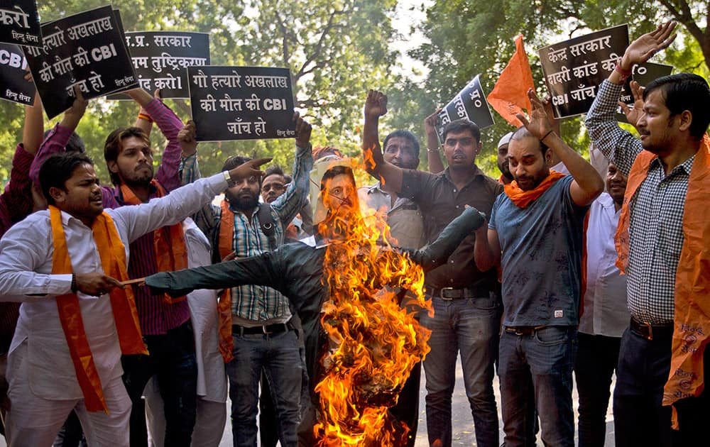 Activists of Hindu Sena or 'Hindu Army' burn an effigy of the Chief Minister of Uttar Pradesh, as they demand a Central Bureau of Investigation or CBI enquiry to certify their conviction that Mohammed Akhlaq, recently lynched by a mob of Hindus for allegedly storing beef in his house, was indeed storing beef for consumption, in New Delhi.