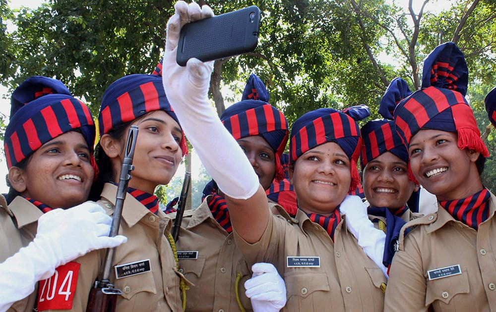 Women constables take selfie after their passing out parade at Police Training Center in Nagpur.